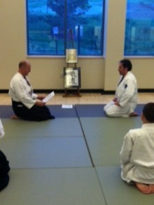 Dave-san receives his Goyku certificate from Les Sensei.