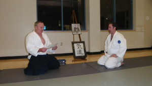 Dave-san receives his 250-hour training certificate from Blevins Sensei.