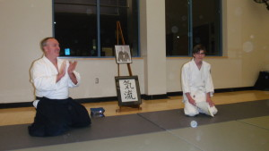 Jackson-san is recognized by Blevins Sensei for attaining 125 hours of practice.